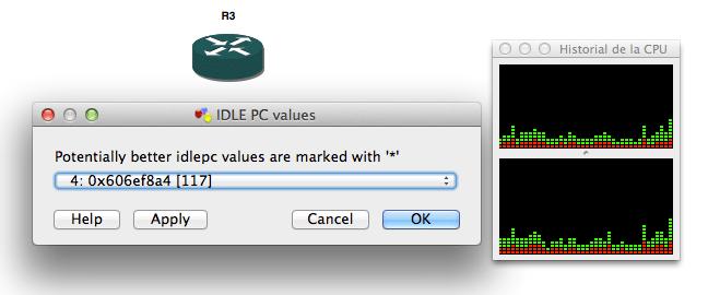 Configuración de Iddle-PC en GNS3